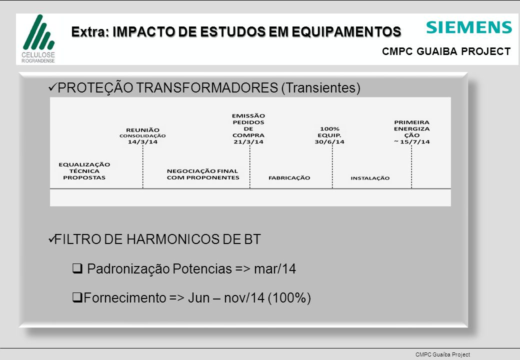 CMPC GUAIBA PROJECT CMPC Guaíba Project Issues & Concerns Concerns:   Dates accuracy for the interface points;   Internal Logistic for Cabinets (from the Truck to the room) and other Equipments;   Transformers Infrastructure / Erection delaying PDS demobilization Concerns:   Dates accuracy for the interface points;   Internal Logistic for Cabinets (from the Truck to the room) and other Equipments;   Transformers Infrastructure / Erection delaying PDS demobilization