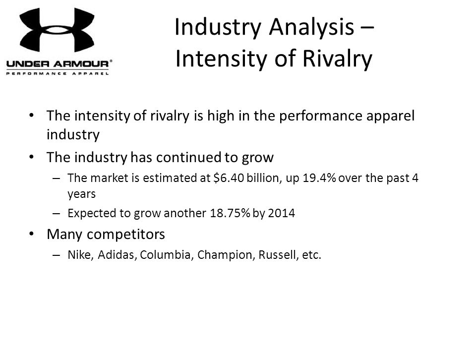 Industry Analysis – Intensity of Rivalry The intensity of rivalry is high in the performance apparel industry The industry has continued to grow – The