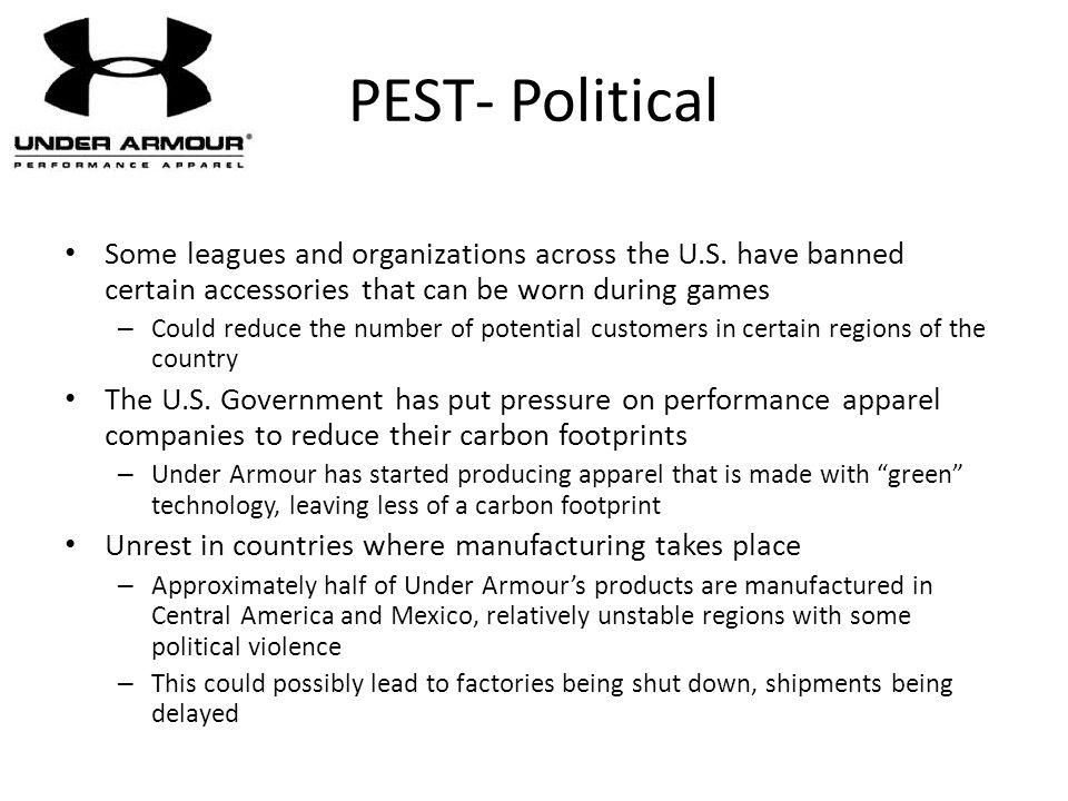 PEST- Political Some leagues and organizations across the U.S. have banned certain accessories that can be worn during games – Could reduce the number