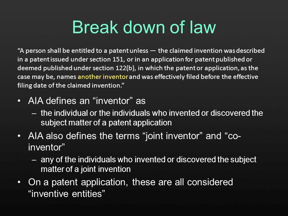 Break down of law A published U.S.