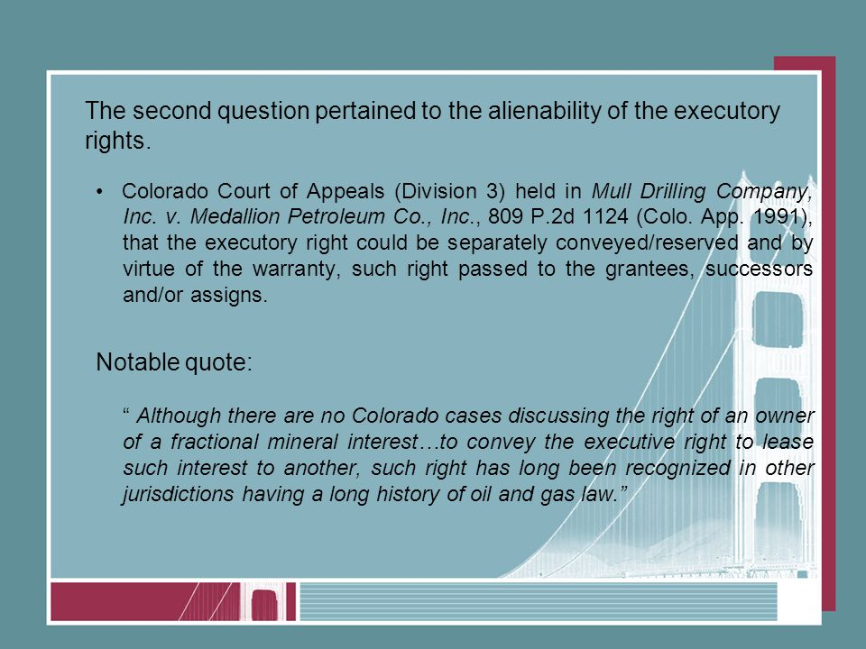 The second question pertained to the alienability of the executory rights.
