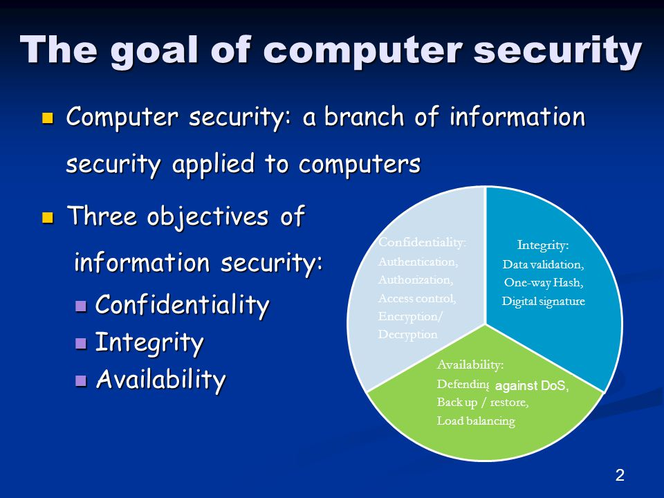 The goal of computer security Computer security: a branch of information security applied to computers Computer security: a branch of information security applied to computers Three objectives of information security: Three objectives of information security: Confidentiality Confidentiality Integrity Integrity Availability Availability Integrity: Data validation, One-way Hash, Digital signature Availability: Defending DoS, Back up / restore, Load balancing Confidentiality : Authentication, Authorization, Access control, Encryption/ Decryption 2 against DoS,