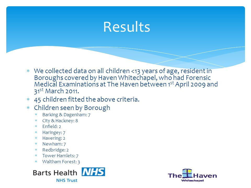  We collected data on all children <13 years of age, resident in Boroughs covered by Haven Whitechapel, who had Forensic Medical Examinations at The Haven between 1 st April 2009 and 31 st March 2011.