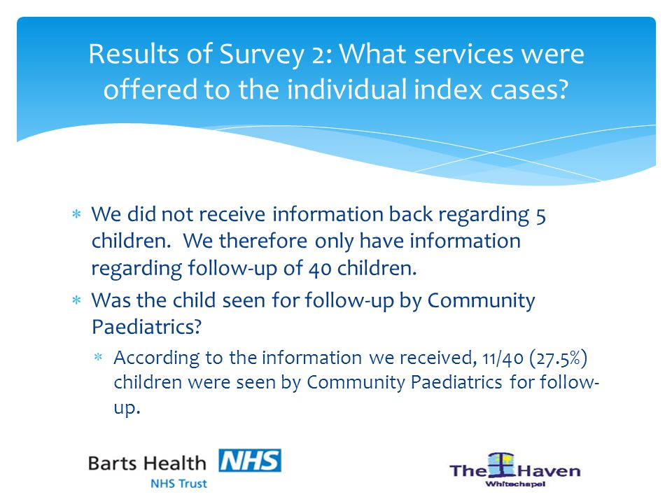  We did not receive information back regarding 5 children.