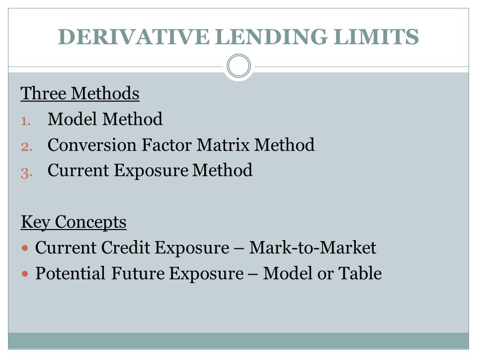 DERIVATIVE LENDING LIMITS Three Methods 1. Model Method 2.