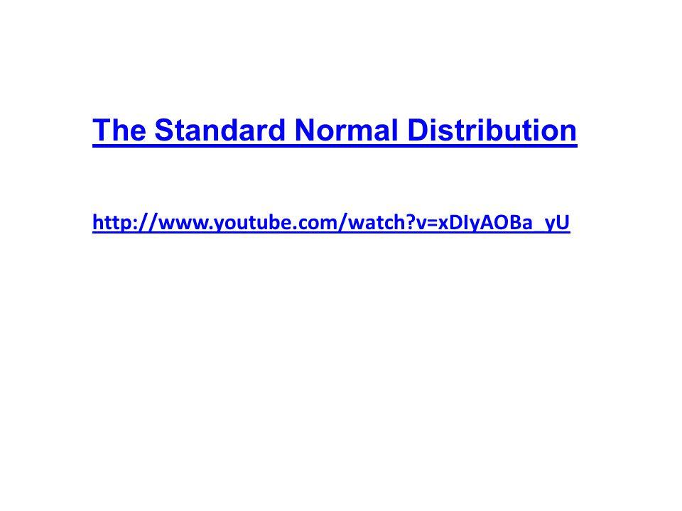 http://www.youtube.com/watch v=xDIyAOBa_yU The Standard Normal Distribution