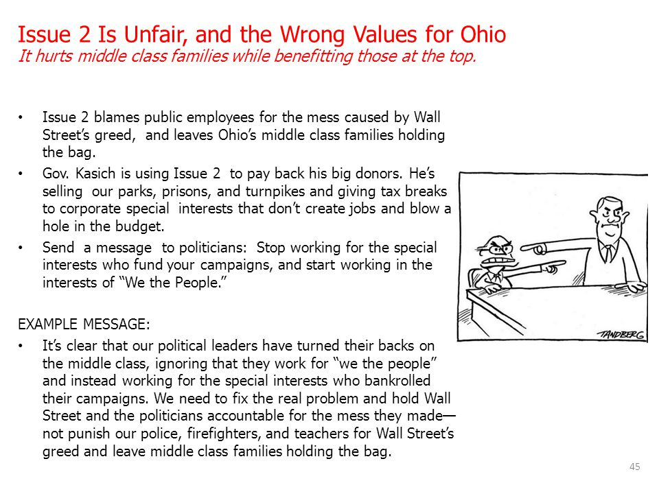 Issue 2 blames public employees for the mess caused by Wall Street's greed, and leaves Ohio's middle class families holding the bag. Gov. Kasich is us