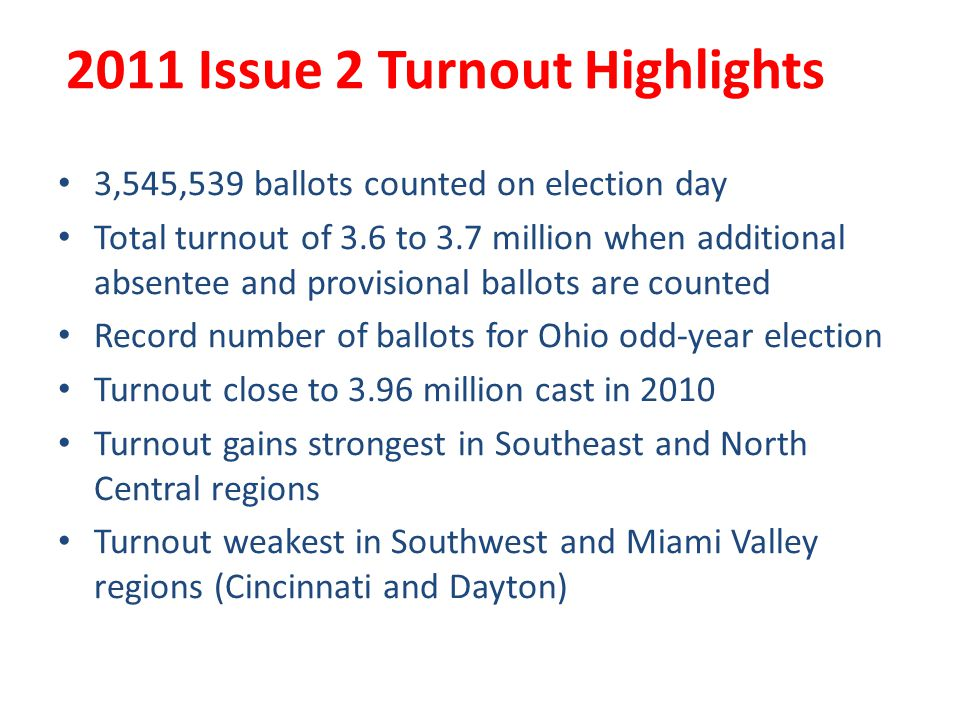 2011 Issue 2 Turnout Highlights 3,545,539 ballots counted on election day Total turnout of 3.6 to 3.7 million when additional absentee and provisional