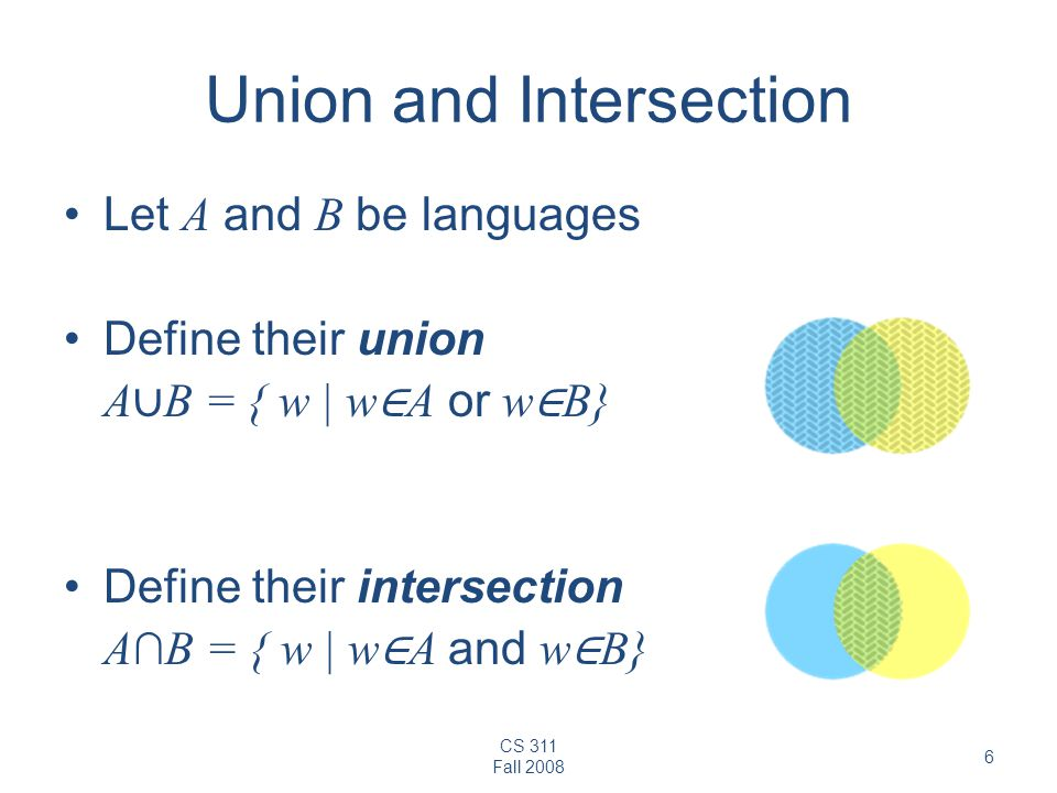 CS 311 Fall 2008 6 Union and Intersection Let A and B be languages Define their union A ∪ B = { w | w ∈ A or w ∈ B} Define their intersection A∩B = { w | w ∈ A and w ∈ B}