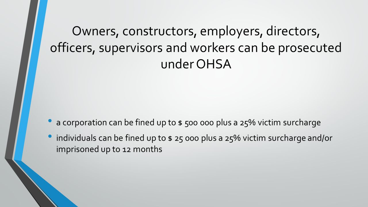Owners, constructors, employers, directors, officers, supervisors and workers can be prosecuted under OHSA a corporation can be fined up to $ 500 000 plus a 25% victim surcharge individuals can be fined up to $ 25 000 plus a 25% victim surcharge and/or imprisoned up to 12 months