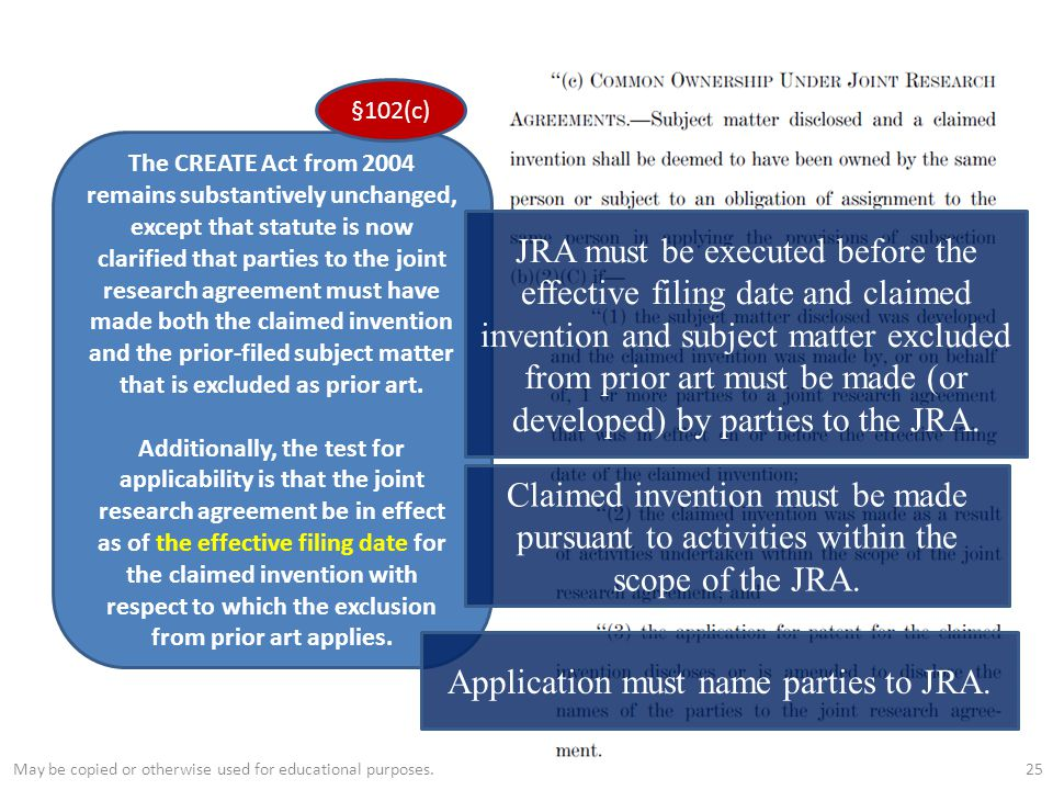 25 The CREATE Act from 2004 remains substantively unchanged, except that statute is now clarified that parties to the joint research agreement must have made both the claimed invention and the prior-filed subject matter that is excluded as prior art.