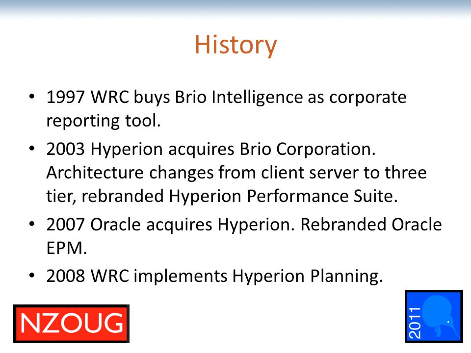 The most comprehensive Oracle applications & technology content under one roof History 1997 WRC buys Brio Intelligence as corporate reporting tool. 20