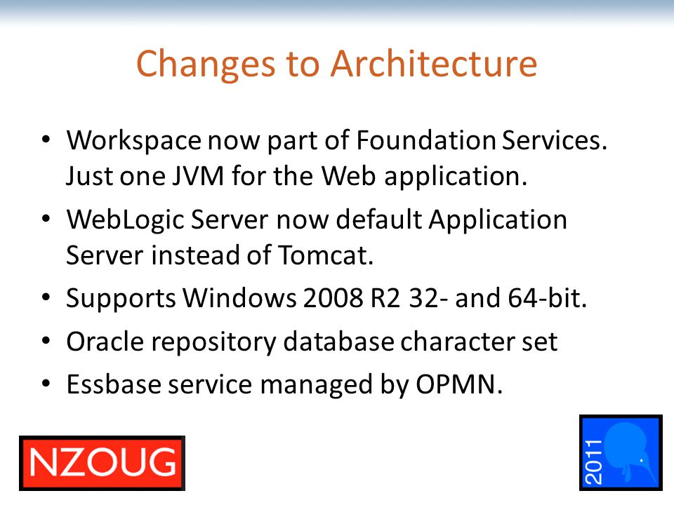 The most comprehensive Oracle applications & technology content under one roof Changes to Architecture Workspace now part of Foundation Services.