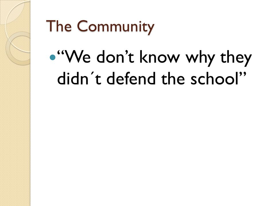 The Community We don't know why they didn´t defend the school