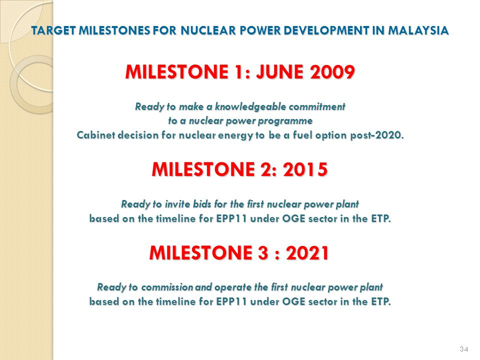 TARGET MILESTONES FOR NUCLEAR POWER DEVELOPMENT IN MALAYSIA MILESTONE 1: JUNE 2009 Ready to make a knowledgeable commitment to a nuclear power programme Cabinet decision for nuclear energy to be a fuel option post-2020.