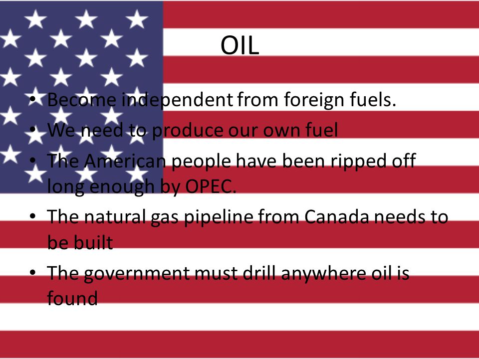 OIL Become independent from foreign fuels. We need to produce our own fuel The American people have been ripped off long enough by OPEC. The natural g