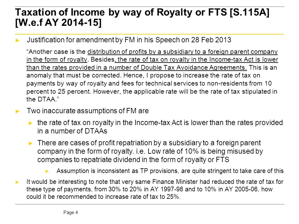 Page 5 Summary of Royalty/FTS rates in current treaties Rate of withholding No.