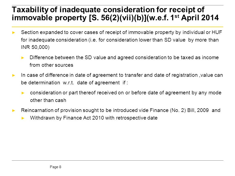 Page 9 Taxability of inadequate consideration for receipt of immovable property [S.
