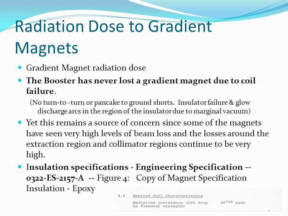Radiation Dose to Gradient Magnets Gradient Magnet radiation dose The Booster has never lost a gradient magnet due to coil failure.