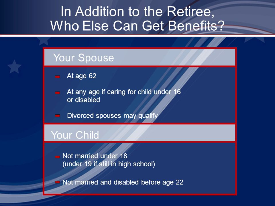 In Addition to the Retiree, Who Else Can Get Benefits? Your Spouse Your Child At age 62 At any age if caring for child under 16 or disabled Divorced s