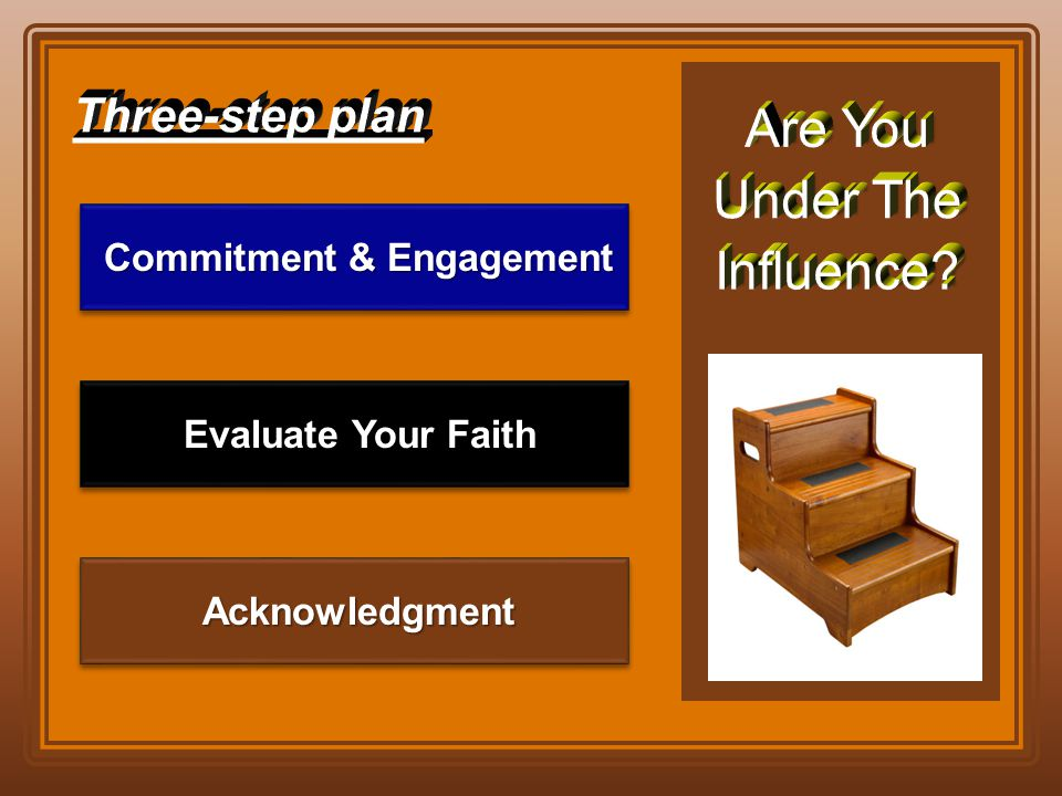 Acknowledgment Acknowledgment Evaluate Your Faith Evaluate Your Faith Commitment & Engagement Commitment & Engagement