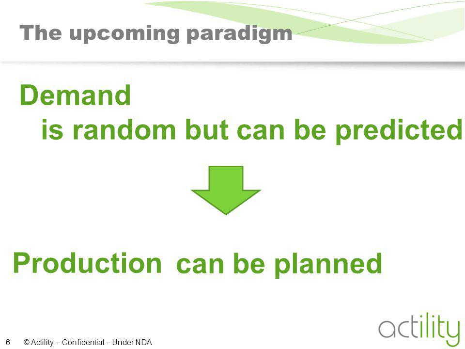 © Actility – Confidential – Under NDA 6 The upcoming paradigm is random but can be predicted can be planned Demand Production