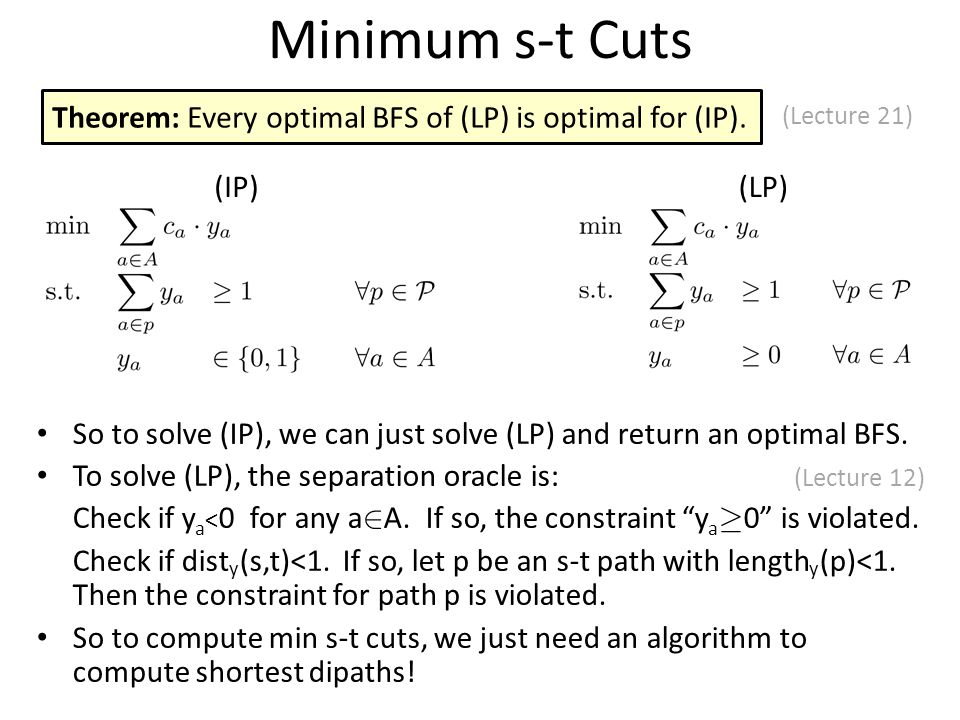 Minimum s-t Cuts (LP) Theorem: Every optimal BFS of (LP) is optimal for (IP).
