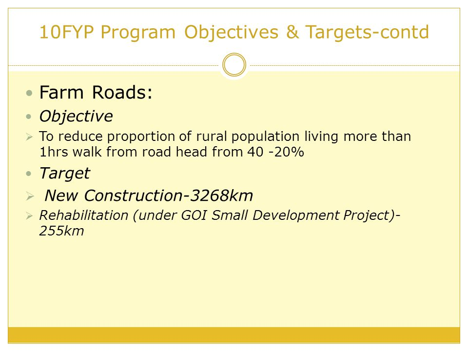10FYP Program Objectives & Targets-contd Farm Roads: Objective  To reduce proportion of rural population living more than 1hrs walk from road head from 40 -20% Target  New Construction-3268km  Rehabilitation (under GOI Small Development Project)- 255km