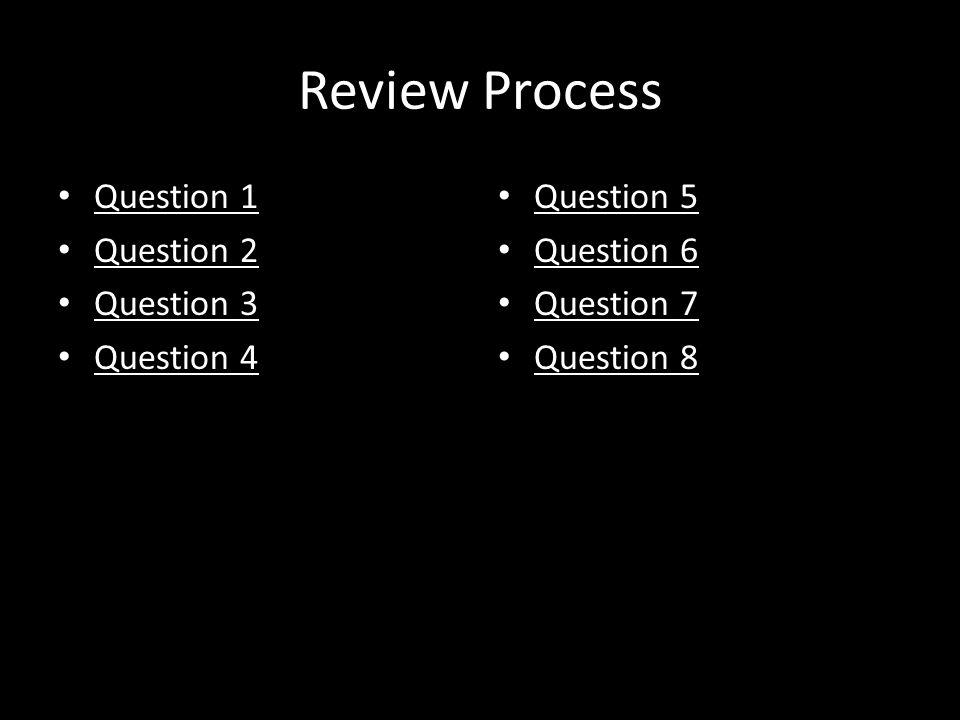 Review Process Question 1 Question 2 Question 3 Question 4 Question 5 Question 6 Question 7 Question 8