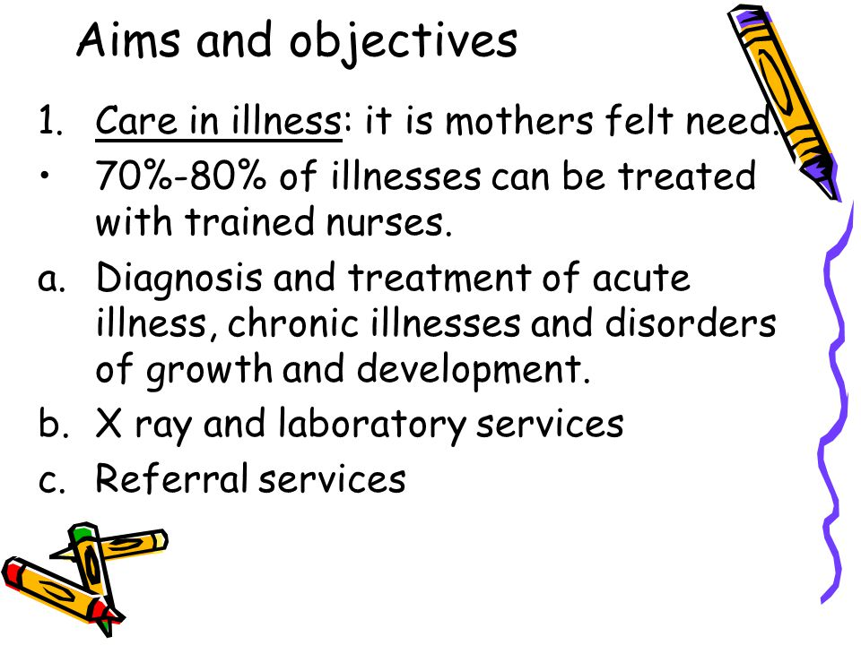 Aims and objectives 1.Care in illness: it is mothers felt need. 70%-80% of illnesses can be treated with trained nurses. a.Diagnosis and treatment of