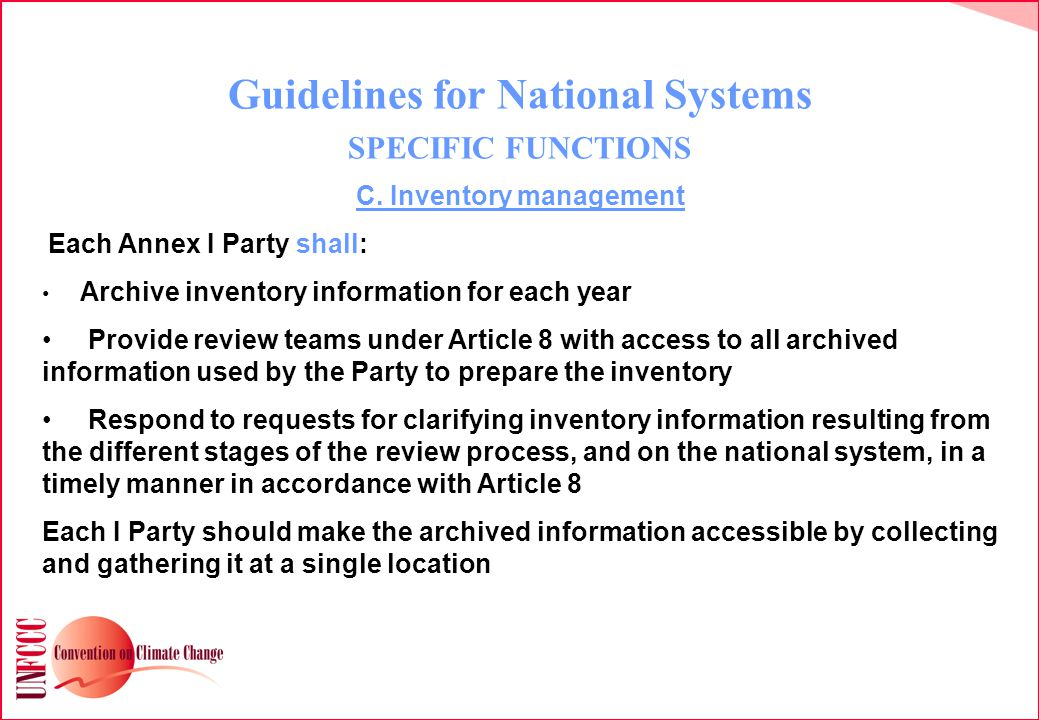 Guidelines for National Systems SPECIFIC FUNCTIONS C.