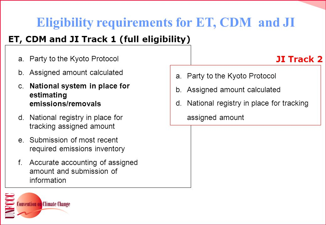 Eligibility requirements for ET, CDM and JI a.Party to the Kyoto Protocol b.Assigned amount calculated c.National system in place for estimating emissions/removals d.National registry in place for tracking assigned amount e.Submission of most recent required emissions inventory f.Accurate accounting of assigned amount and submission of information ET, CDM and JI Track 1 (full eligibility) a.Party to the Kyoto Protocol b.Assigned amount calculated d.National registry in place for tracking assigned amount JI Track 2
