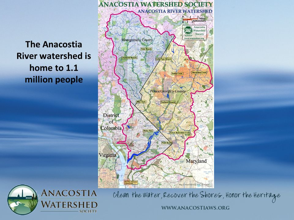 The Anacostia River watershed is home to 1.1 million people