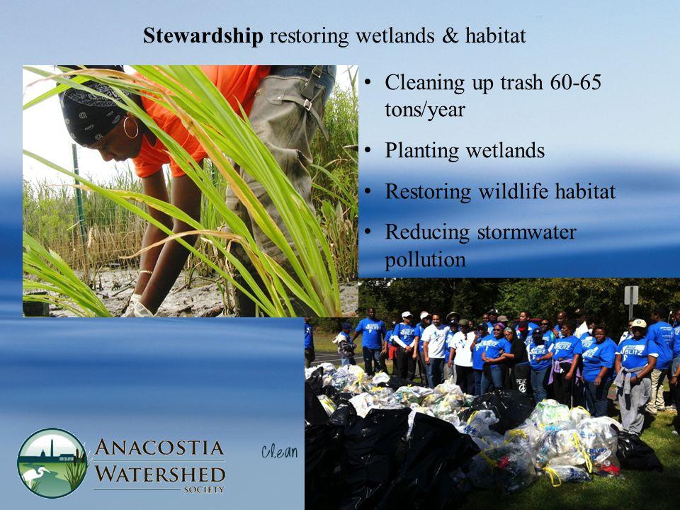 Stewardship restoring wetlands & habitat Cleaning up trash 60-65 tons/year Planting wetlands Restoring wildlife habitat Reducing stormwater pollution
