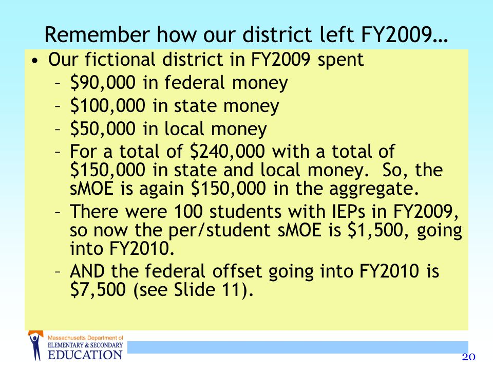 20 Remember how our district left FY2009… Our fictional district in FY2009 spent –$90,000 in federal money –$100,000 in state money –$50,000 in local money –For a total of $240,000 with a total of $150,000 in state and local money.