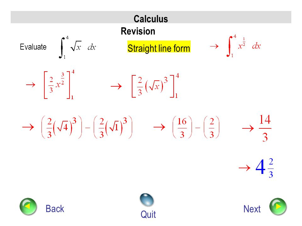 Calculus Revision Back Next Quit Integrate Integrate term by term