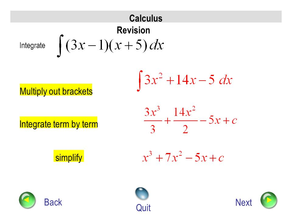 Calculus Revision Back Next Quit Find p, given