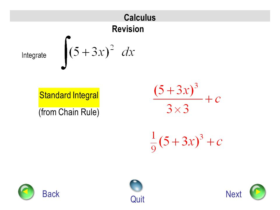 Calculus Revision Back Next Quit Integrate Multiply out brackets Integrate term by term simplify