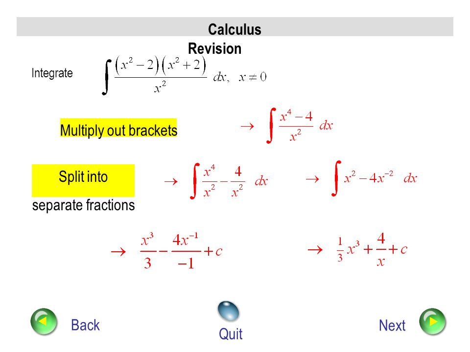 Calculus Revision Back Next Quit Integrate Standard Integral (from Chain Rule)