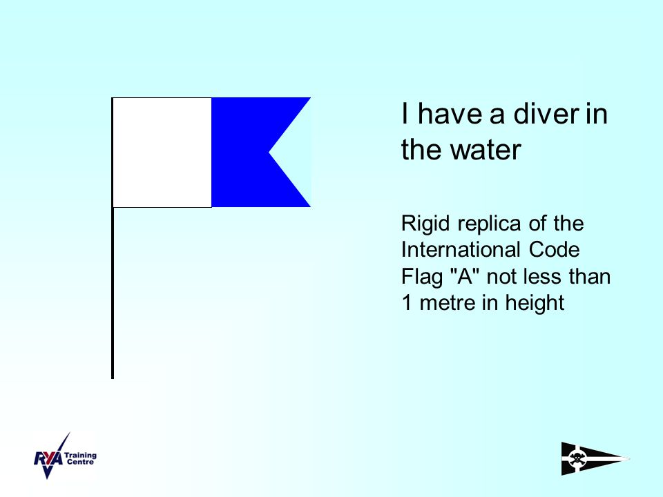 I have a diver in the water Rigid replica of the International Code Flag