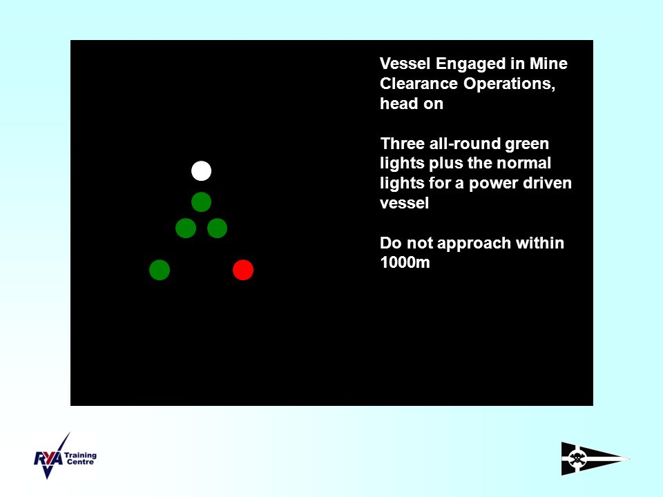 Vessel Engaged in Mine Clearance Operations, head on Three all-round green lights plus the normal lights for a power driven vessel Do not approach wit