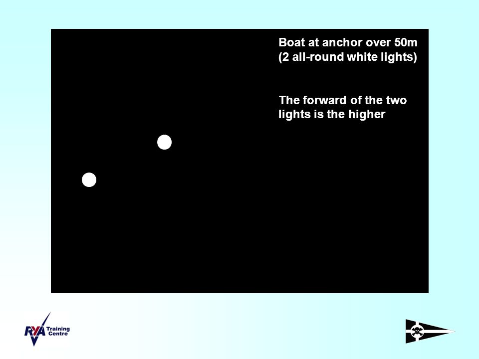 Boat at anchor over 50m (2 all-round white lights) The forward of the two lights is the higher
