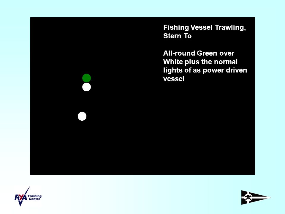 Fishing Vessel Trawling, Stern To All-round Green over White plus the normal lights of as power driven vessel