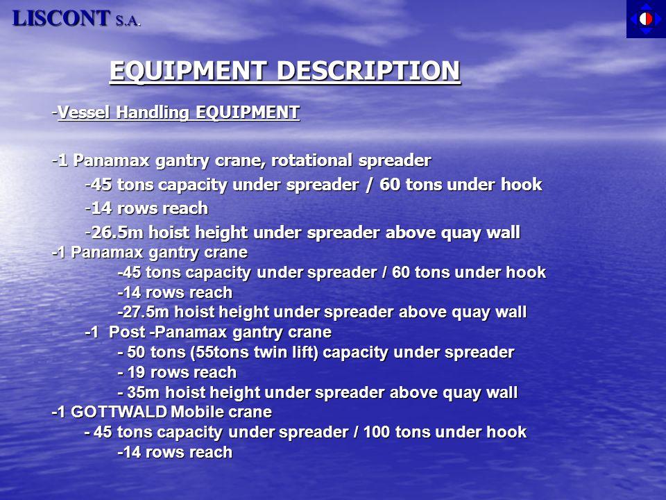 EQUIPMENT DESCRIPTION -Vessel Handling EQUIPMENT -1 Panamax gantry crane, rotational spreader -45 tons capacity under spreader / 60 tons under hook -1
