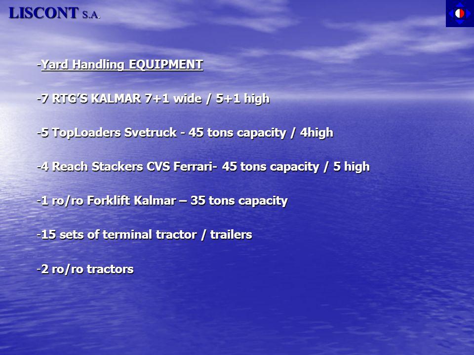 LISCONT S.A. -Yard Handling EQUIPMENT -7 RTG'S KALMAR 7+1 wide / 5+1 high -5 TopLoaders Svetruck - 45 tons capacity / 4high -4 Reach Stackers CVS Ferr
