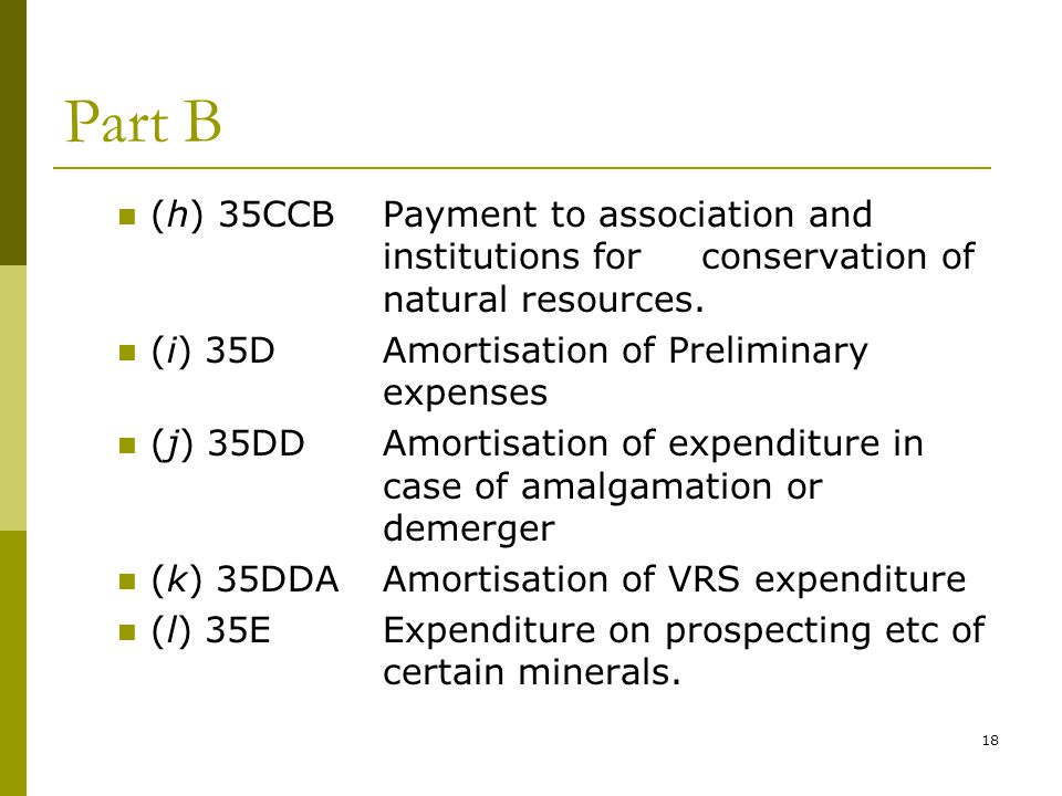 18 Part B (h) 35CCBPayment to association and institutions for conservation of natural resources. (i) 35DAmortisation of Preliminary expenses (j) 35DD