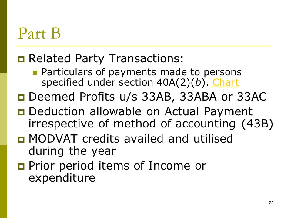 23 Part B  Related Party Transactions: Particulars of payments made to persons specified under section 40A(2)(b). ChartChart  Deemed Profits u/s 33A