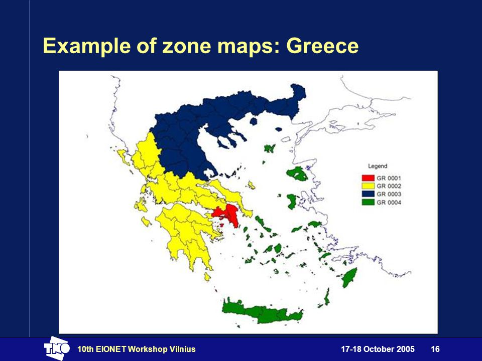 17-18 October 200510th EIONET Workshop Vilnius16 Example of zone maps: Greece