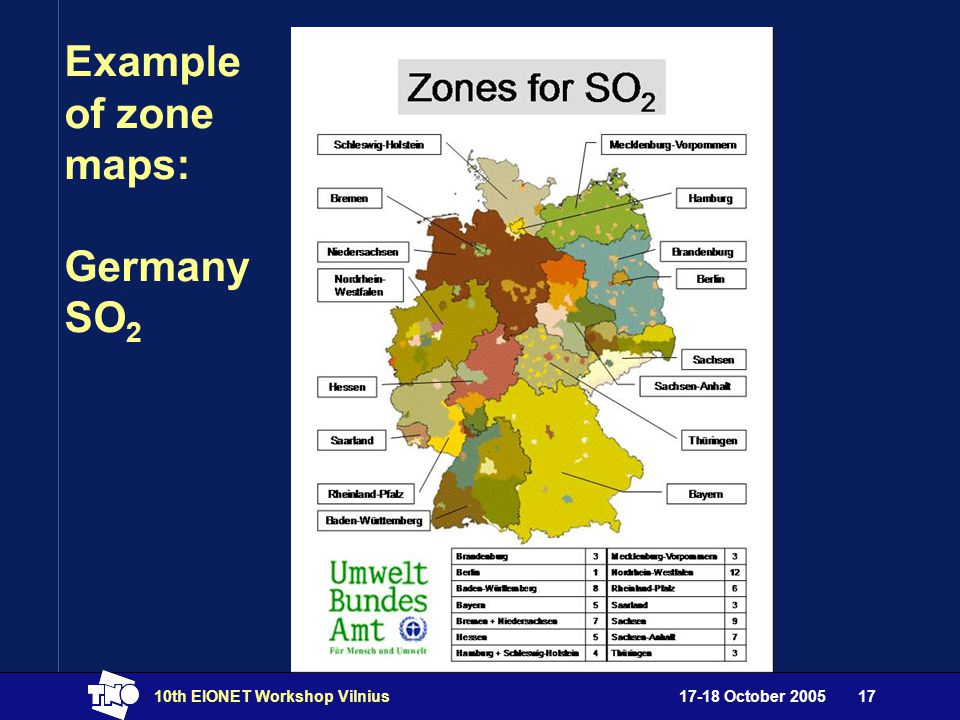 17-18 October 200510th EIONET Workshop Vilnius17 Example of zone maps: Germany SO 2