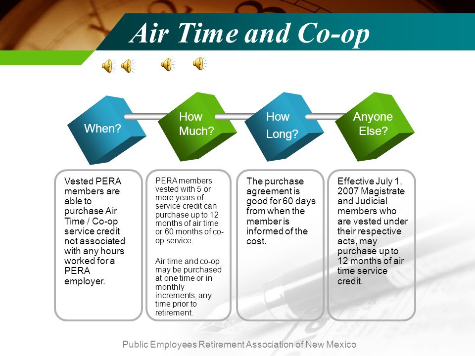 Public Employees Retirement Association of New Mexico Air Time and Co-op When.